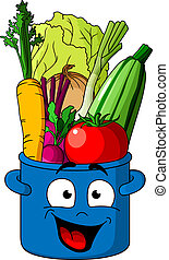 Healthy fresh vegetables in blue pot - Smiling blue pot...