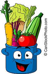 Healthy fresh vegetables in blue pot - Smiling blue pot...