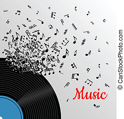 Retro music vintage poster with vinyl disc and explosion of...