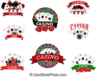 Casino and gambling badges, icons or emblems - Casino and...