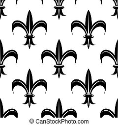 Seamless fleur-de-lis royal black pattern - Seamless retro...
