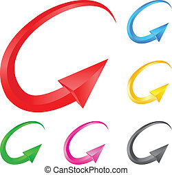 Colorful arrows. Illustration for design on white background