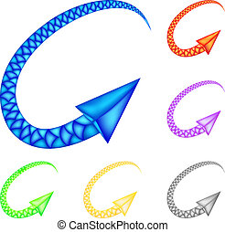 Colored arrows imitating snake Vector Illustration for...