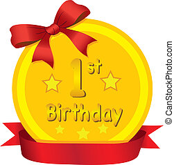 Baby 1st Birthday Gold Medal with Red Ribbon Vector...