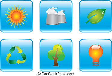 Blue Environmental Conservation Icon Set - Vector...