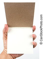 small writing pad in hand . Insert text on paper