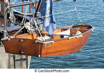 Wooden tender. Photo taken in the sport port of Santa Pola....