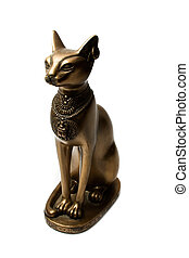 Bronze figure of the Egyptian cat. Isolated on a white background.