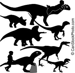 dinosaur and kid silhouette vector - dinosaur and kid are...
