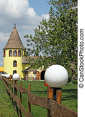 castle tower and fence Eastern Europe