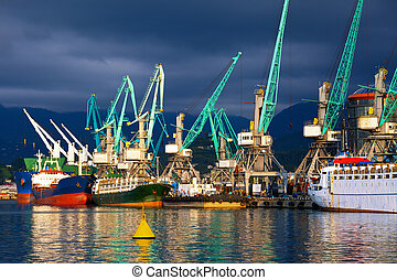 Ships in seaport - Transportation and logistic background -...