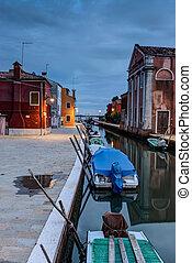 Burano - Colorful houses in Burano at dusk, Venetian...