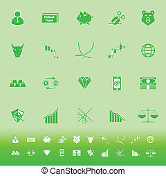 Stock market color icons on green background, stock vector