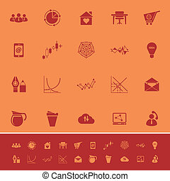 Virtual organization color icons on orange background