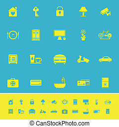 General home stay color icons on blue background