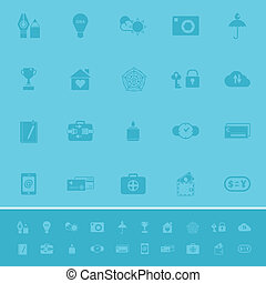 Insurance sign color icons on light blue background, stock...