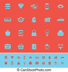 Department store item category color icons on red...