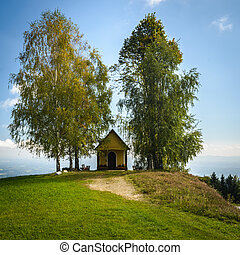 Chapel - Small chapel on a hill between two trees .Austria.