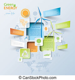 Abstract vector Infographic with wind turbines, green energy