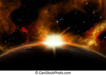3D space background with the sun rising over a fictional...