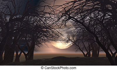 3D spooky landscape with trees - 3D spooky Halloween...