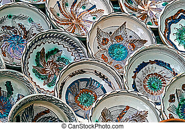 Romanian traditional ceramic plates 2 - Romanian traditional...