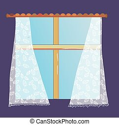 Print - Window with lace curtain illustration