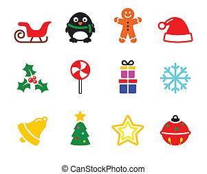Colorful Christmas icons set