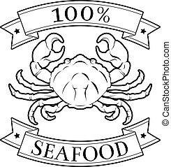 Sea food 100 percent label - 100 percent seafood food icon...