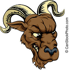 Ram character illustration - A ferocious mean looking ram...