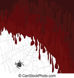 Halloween card with bloody background and spider on a spider web
