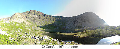 Panorama at Llyn-y-Gadair on cadair idris mountain in...