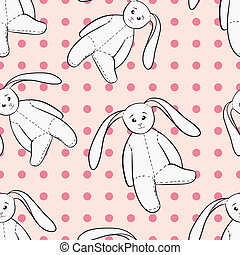 White bunnies toys childish seamless pattern - Hand drawing...
