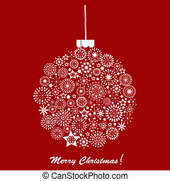 Silver Christmas ball over red background Holiday card