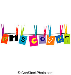 The word Discount hanging on a rope