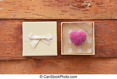 Pink chocolate in gift box - Pink heart chocolate in gift...