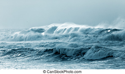 Stormy sea - Big waves approaching the Portuguese coast in a...