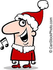 santa singing carol cartoon illustration - Cartoon...