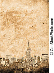 Manhattan - old New york downtown in retro design look