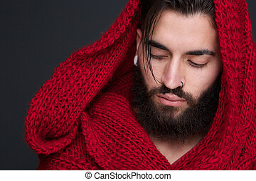 Male fashion model with red scarf - Close up portrait of a...