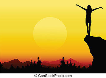 girl with raised hands on mountain - vector illustration of...