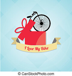 design love of cycling over color background