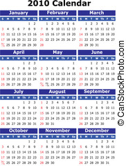 2010 Vector calendar - English 2010 vector calendar. Week...