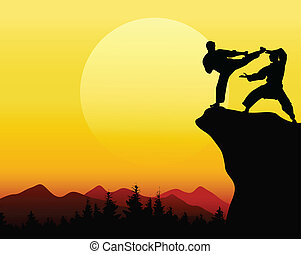man fight with sunset background - vector illustration of...