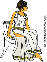 Ancient Greek woman sitting on a chair colored variant