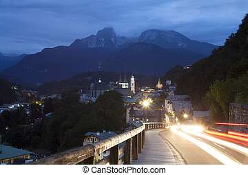 Berchtesgaden at night - Berchtesgaden Alpine mountain...