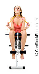 woman sitting on bench for fitness
