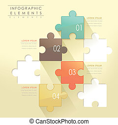 modern puzzle infographic elements isolated on yellow