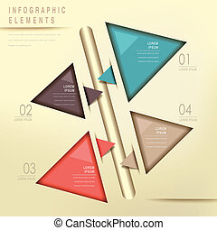 colorful modern triangle abstract flow chart infographic