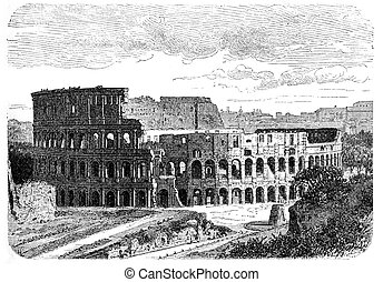 Colosseum - Illustration of Colosseum in Rome. Originally...